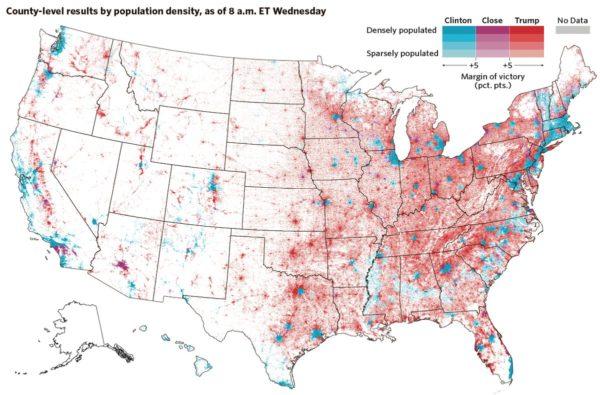 Auf dieser Karte erscheinen die bevölkerungsarmen Regionen des mittleren Westens nicht einfach als rotes Trump-Land sondern als leere Fläche, dafür wird umso klarer, wo die Trump-WählerInnen tatsächlich wohnen: in den Kleinstädten des Rostgürtels (zwischen den grossen Seen und Pennsylvania) und des Bibelgürtels (evangelikal geprägte Staaten im Südosten der USA).